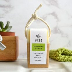 natural soap on a rope lemongrass and patchouli