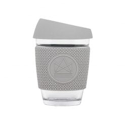 reusable glass coffee cup sleeve forever young grey