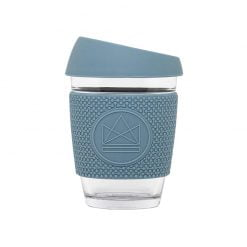 reusable glass coffee cup sleeve super sonic blue