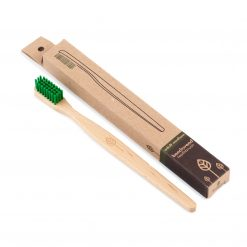 wooden toothbrush with natural bristles front